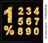 numbers gold set in luxury... | Shutterstock .eps vector #779003956