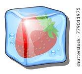 frozen red berry of strawberry... | Shutterstock .eps vector #779011975