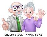 cartoon senior elderly... | Shutterstock .eps vector #779019172