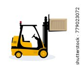 yellow forklift truck isolated... | Shutterstock . vector #779023072
