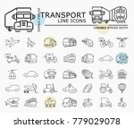 transport line icons with... | Shutterstock .eps vector #779029078