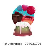 illustration with jelly  cake... | Shutterstock .eps vector #779031706