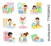 kids everyday activities vector ... | Shutterstock .eps vector #779038942