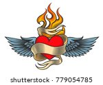 Flaming Heart With Wings And...