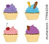 set of blueberry  mint  cherry... | Shutterstock .eps vector #779063248