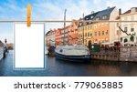 Blank Photos Hanging Clothesline Nyhavn - Fine Art prints