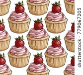 strawberry cupcake with creamy... | Shutterstock . vector #779067205
