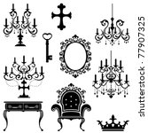 Antique design element set. Illustration vector - stock vector