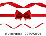 set of red ribbon bows made... | Shutterstock . vector #779092906
