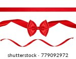 set of red beautiful ribbon bow ... | Shutterstock . vector #779092972