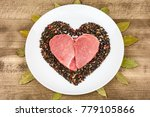 raw meat in the shape of a...   Shutterstock . vector #779105866
