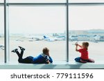 kids waiting for plane in... | Shutterstock . vector #779111596