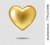 gold realistic heart  isolated. | Shutterstock .eps vector #779121448