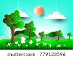 landscape mountains view with... | Shutterstock .eps vector #779123596