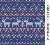 christmas knitting seamless...   Shutterstock .eps vector #779154856