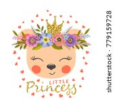 princess with floral wreath.... | Shutterstock .eps vector #779159728