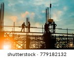 Silhouette Of Engineer And...