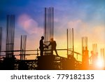 silhouette of engineer and... | Shutterstock . vector #779182135