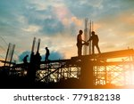 silhouette of engineer and... | Shutterstock . vector #779182138