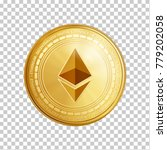 golden ethereum coin. crypto... | Shutterstock .eps vector #779202058