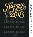 calendar happy new year 2018... | Shutterstock .eps vector #779206036