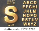 Set of golden luxury 3D uppercase shiny english letters. Golden glitter metallic bold font on gray background. Good typeset for rich and jewel concepts. Transparent shadow, EPS 10 vector illustration. | Shutterstock vector #779211202