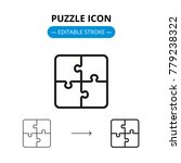 puzzle line icon with editable... | Shutterstock .eps vector #779238322