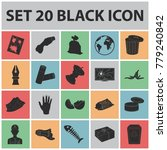garbage and waste black icons...   Shutterstock .eps vector #779240842