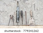 old tool standing on wooden... | Shutterstock . vector #779241262