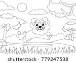 Stock vector coloring page of a lion running happily cartoon lion suitable to use for children book and animal 779247538
