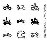 motorcycle icons. set of 9... | Shutterstock .eps vector #779272405