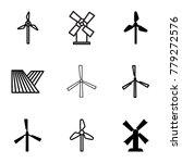 mill icons. set of 9 editable... | Shutterstock .eps vector #779272576
