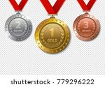 set of realistic 3d champion... | Shutterstock .eps vector #779296222