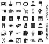 kitchen utensil icons set.... | Shutterstock .eps vector #779297392