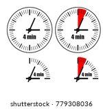 four minute clock on white... | Shutterstock .eps vector #779308036
