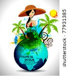 tropical beach party background ... | Shutterstock .eps vector #77931385
