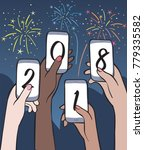 happy new year party. four... | Shutterstock .eps vector #779335582