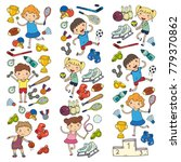 boys and girls playing sports... | Shutterstock .eps vector #779370862