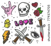 punk rock doodle set. | Shutterstock .eps vector #779374705