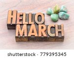 hello march in vintage... | Shutterstock . vector #779395345