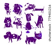 stylized funny doodle dogs.... | Shutterstock .eps vector #779401216