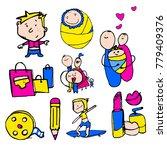 stylized kids illustrations.... | Shutterstock .eps vector #779409376