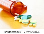 many colors pill or drugs are... | Shutterstock . vector #779409868