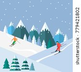 ski season in the winter alps.... | Shutterstock .eps vector #779421802