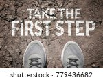 take the first step text and... | Shutterstock . vector #779436682