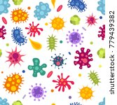 seamless texture with bacterias ... | Shutterstock .eps vector #779439382