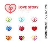 set of the love heart logo.... | Shutterstock .eps vector #779464798
