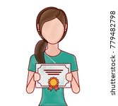 woman winner with diploma | Shutterstock .eps vector #779482798