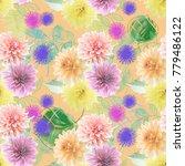 seamless  pattern of dahlia... | Shutterstock . vector #779486122