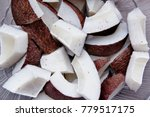 pieces of coconut. pieces of... | Shutterstock . vector #779517175